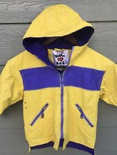 WIPPETTE Kids Toddler Girls Hooded Rain Jacket Size 3 Yellow Purple Fully Lined