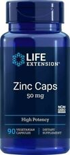 Life Extension Zinc Caps 50 mg, 90 Vegetarian capsules FREE SHIPPING