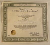 Certificate The Beatles Sgt. Pepper's Franklin Mint Porcelain Music Box COA ONLY