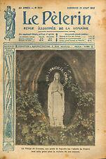 Statue la  Sainte Vierge Sanctuaires Notre-Dame de Lourdes WWI 1916 ILLUSTRATION