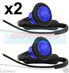 "2 x 12V/24V BLUE SMALL 1"" ROUND LED BUTTON MARKER LAMPS/LIGHTS UNIVERSAL MARINE"