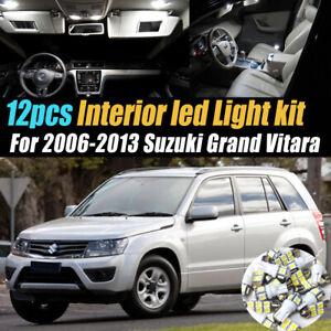 12Pc White Car Interior LED Light Bulb Kit for 2006-2013 Suzuki Grand Vitara