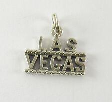Las Vegas Charm Pendant .925 Sterling Silver Jewelry USA Made Nevada Souvenir