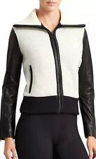 Athleta Derek Lam 10 C Elevate Sherpa Fleece Leather Jacket Coat $428 NWT Sz XL