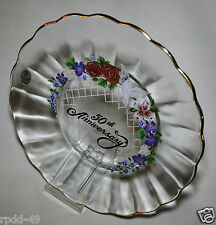 Vintage 50th Anniversary Crystal Plate with Stand FENTON Quality  New In Box