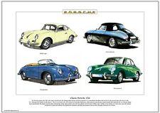 Clásico Porsche 356-Art Print-A3 Tamaño-Coupe Cabriolet Speedster Carrera 2