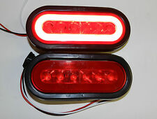 "(2) Trailer Truck 22 LED RED 6"" Oval Stop Turn Tail Light Optronics Glo-light"