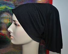 New Cotton Bandana Tube Under Scarf Shawl Chemo Bonnet Hijab Cap Hair Loss Black