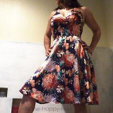 Blue Satin Halter Dress M Orange White Floral Dahlias Cocktail Gown As U Wish