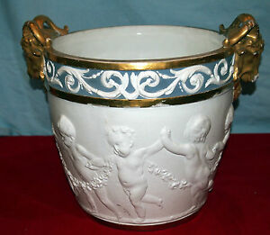 SEVRES 19 C  FRENCH BISQUE PLANTER SIGNED RARE WITH 2  RAMS HEADS CHERUB DESIGN