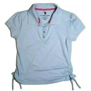 US Polo Assn. Little Girls School Uniform Blue Short Sleeve Polo Shirt 6 EUC