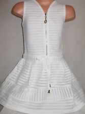 GIRLS CREAMY WHITE ZIP TRIM DROP WAIST SPORTY LACE FLARED PARTY DRESS age 5-6