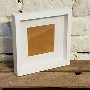 NEW Quality WHITE Wooden Square Deeper Shadow Box Frame 23cm x 23cm (2040)