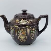 Vintage Hand Painted Brown Floral Gold Gilt Teapot Made in Japan