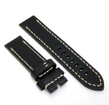 24mm Handmade Black Cowhide Leather Watch Band Strap
