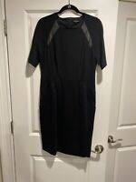 NWOT Nanette Lepore Black Dress Sheath Leather Trim 12