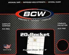 25 BCW Pro 20 Pocket Sheets Binder Pages for Coin Holders  Pogs or Slides