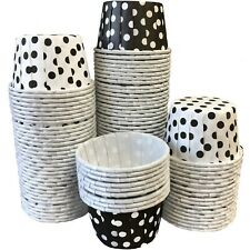 100 Black and White Candy Nut Paper Cups - Mini Baking Liners