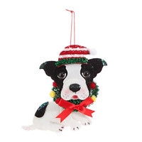 "RAZ Imports Felt Dog Christmas Ornament — Festive Boston Terrier 6"" x 6.2"" x 1"""