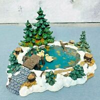 Lemax 2000 Village Landscape Collection Pine Haven Pond Poly Resin Swans