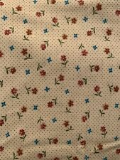"""3 YARDS X 44"""" ViNTAGE PETER PAN INC. ? White COTTON FABRIC With Floral Flowers"""