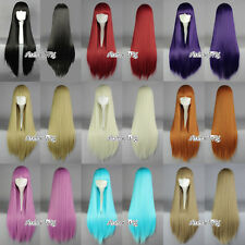 "14 Colors 32"" Straight Bang Anime Cosplay Wig Heat Resistant Hair + Wig Cap"