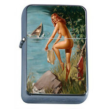 Windproof Refillable Fliptop Oil Lighter Classic Vintage Model Pin Up Girl D-177