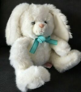"""Russ Fluffie White Bunny Rabbit Soft Plush Toy 8"""" Blue Bow"""