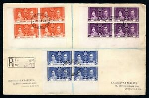 Sierra Leone - 1937 KGVI Coronation in Blocks of 4 Registered Cover