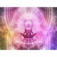 Buddhism Yoga Pose Psychedelic Large Wall Art Print