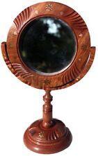 Wooden Dresser Tilt Top Mirror With Floral Pattern Inlaid in Brass