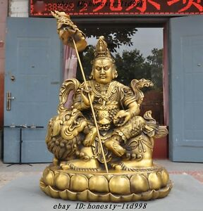 "21"" Tibet Buddhism Brass Ride Lion Mahakala Jambhala Mammon God Buddha Sculpture"