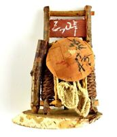 Vtg Asian Character Japanese Hat Sandles Hnadmade Tree Twigs Art