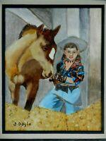 "M. JANE DOYLE SIGNED ORIG.ART OIL/CANVAS PAINTING ""PRINCE & THE PRINCESS"" FRAMED"