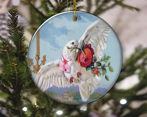Valentine White Dove with Roses Vintage Style Christmas Ornament, Christmas Gift