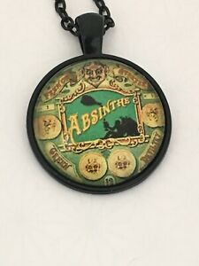 ABSINTHE vintage label      cabochon necklace    UK seller         E20