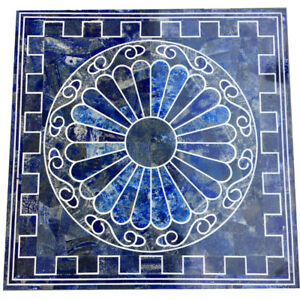 "36"" Marble Center Table Top Lapis lazuli semi precious stones Handmade Work"