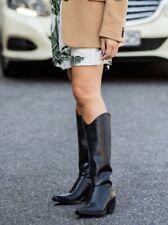 Zara Black Leather Cowboy Heeled Knee High Western Boots UK4 EU37 US6.5 # 537