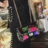 Sequins Shoulder Bags Women Messenger Chain Cross Body Bag Handbag Purse Satchel