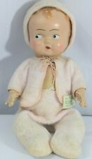 """Antique 1930's Composition Jointed 11.5"""" Doll with Original Clothes"""