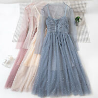 Lady Fairy Mesh Sheer Dress See Through Lace Up Lolita Dress Ball Gown Fancy New