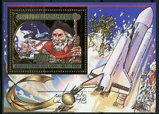 Centre Afrique 1985 Christophe COLOMB Space shuttle ship Gold MI Bloc 372 A Perf