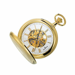 Dugena 4460307 Pocket Watch Hand Wound Skeletonized with Chain Gold Coloured