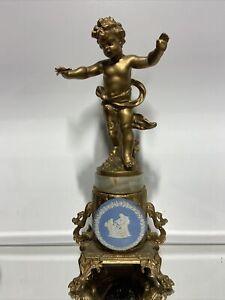 VTG. Art Nouveau Period Gold Spelter Metal Cherub W/ Bisque Lower Crest Statue