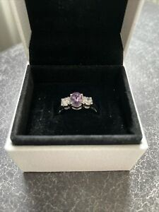 Silver Costume Jewellery Ring Set With Cubic  Zirconia And Amethyst Stones