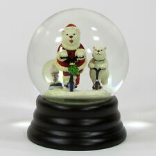 "Eddie Bauer POLAR BEARS ON SCOOTERS 6"" Snow Globe Santa Suit Christmas Gifts"