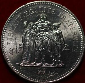 Uncirculated 1977 France 50 Francs Silver Foreign Coin