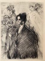 Charles Duvent gravure Gravure Eau Forte Etching Portrait Femme Venise Au Rialto