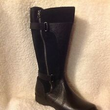 Clarks Leather Wide Shaft Boots - Whistle Brook Black 8.5  med