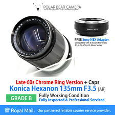 ⭐SERVICED⭐ KONICA Hexanon 135mm F3.5 +Sony E-mount FE NEX Adapter+Caps [GRADE B]